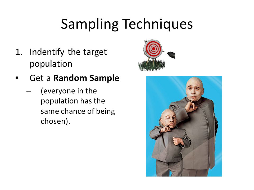 Sampling Techniques 1.Indentify the target population Get a Random Sample – (everyone in the population has the same chance of being chosen).