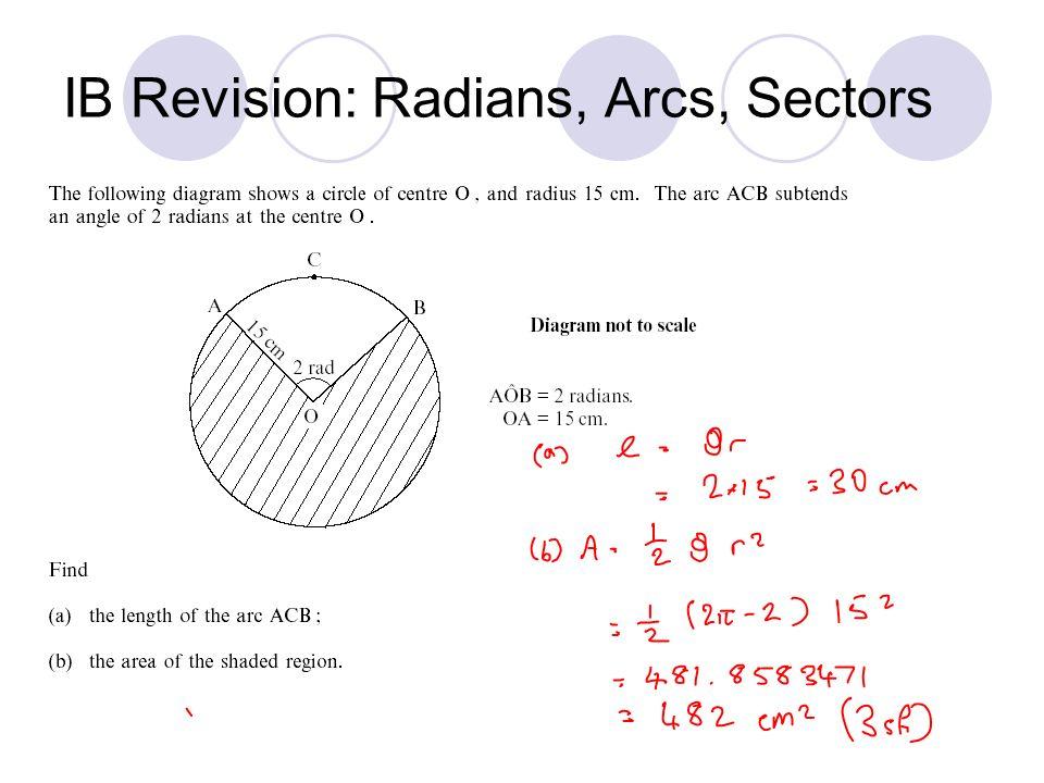 IB Revision: Radians, Arcs, Sectors
