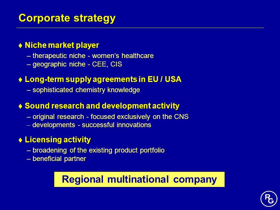 Regional multinational company Corporate strategy Niche market player Niche market player – therapeutic niche - womens healthcare – geographic niche -