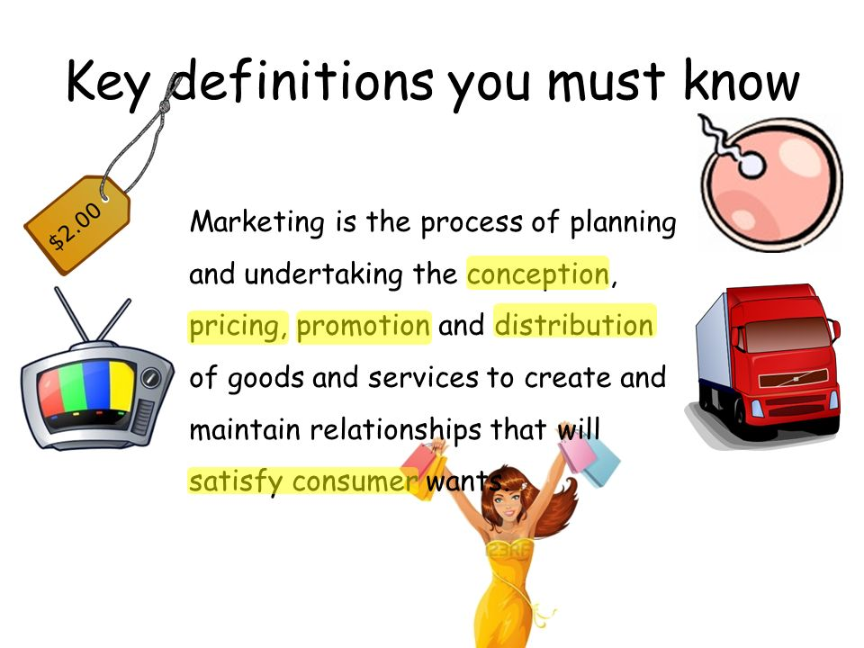 Key definitions you must know Marketing is the process of planning and undertaking the conception, pricing, promotion and distribution of goods and services to create and maintain relationships that will satisfy consumer wants.