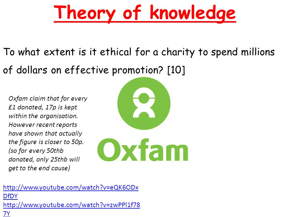 Theory of knowledge To what extent is it ethical for a charity to spend millions of dollars on effective promotion.