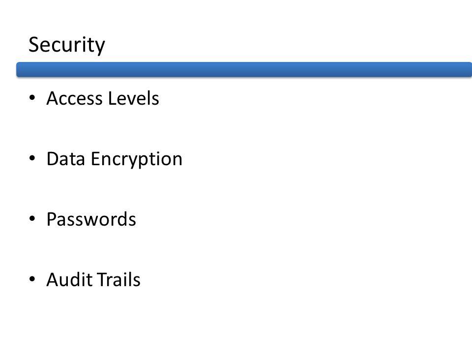 Security Access Levels Data Encryption Passwords Audit Trails
