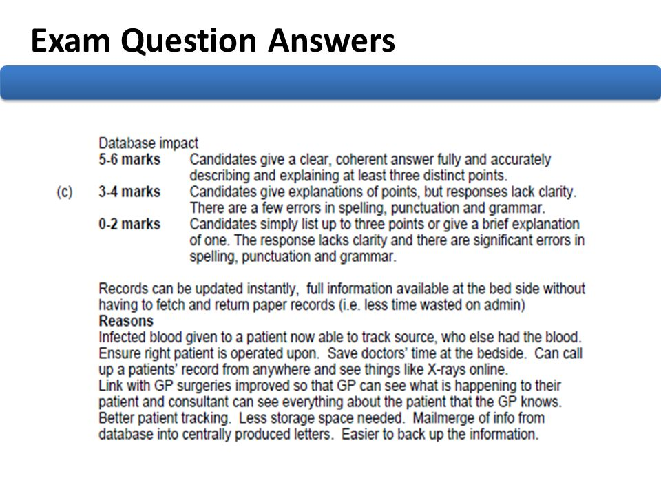 Exam Question Answers