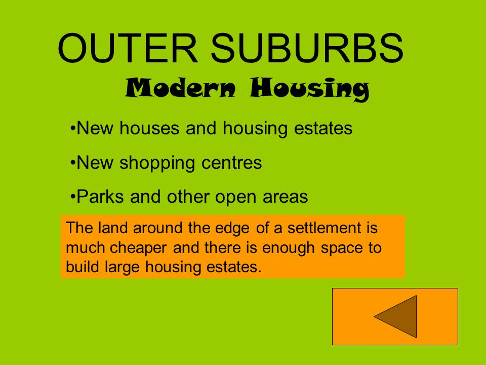 Housing 1920 - 1950 Larger houses usually with gardens Some Parks Some rows of shops INNER SUBURBS Newer houses built for the growing population. The