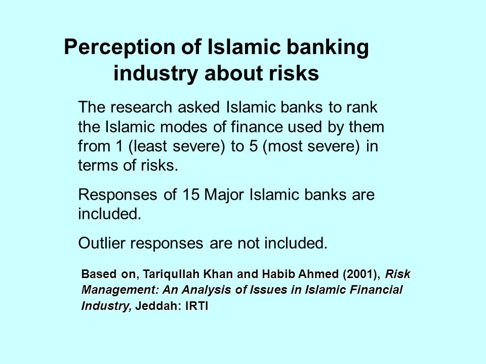 Perception of Islamic banking industry about risks Based on, Tariqullah Khan and Habib Ahmed (2001), Risk Management: An Analysis of Issues in Islamic Financial Industry, Jeddah: IRTI The research asked Islamic banks to rank the Islamic modes of finance used by them from 1 (least severe) to 5 (most severe) in terms of risks.