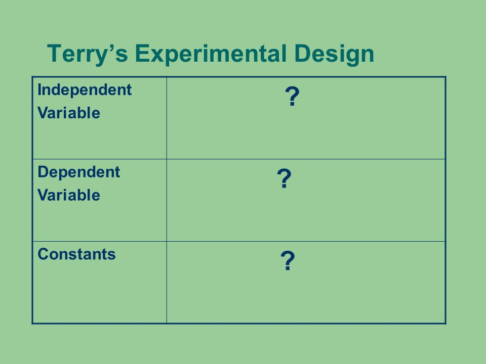 Terrys Experimental Design Independent Variable ? Dependent Variable ? Constants ?