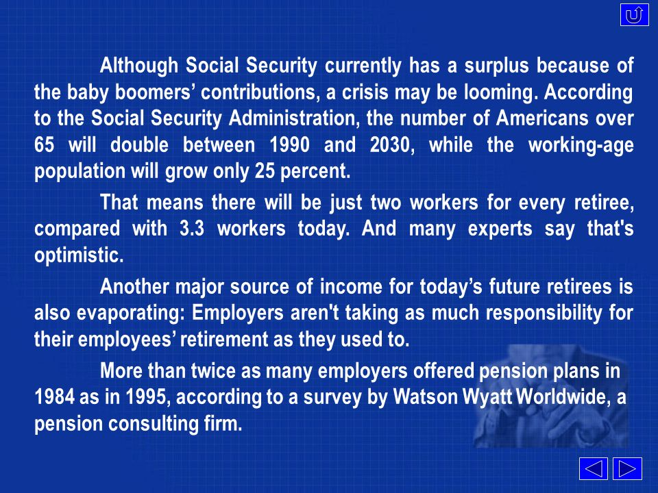 The most obvious reason is that Social Security, which averages $745 a month for todays retirees and accounts for 42 percent of their income, may not be there for all of tomorrow s retirees.accounts for A lot of people think that the 6.2 percent siphoned from their paychecks into Social Security coffers will be held for them and returned when they re ready to retire.