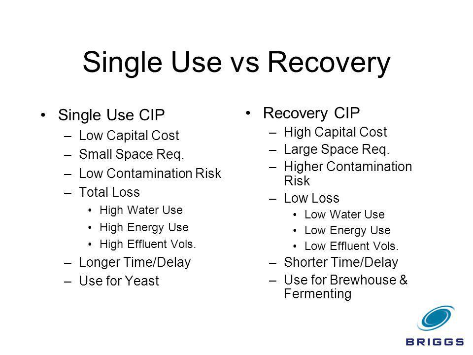 Single Use vs Recovery Single Use CIP –Low Capital Cost –Small Space Req. –Low Contamination Risk –Total Loss High Water Use High Energy Use High Effl