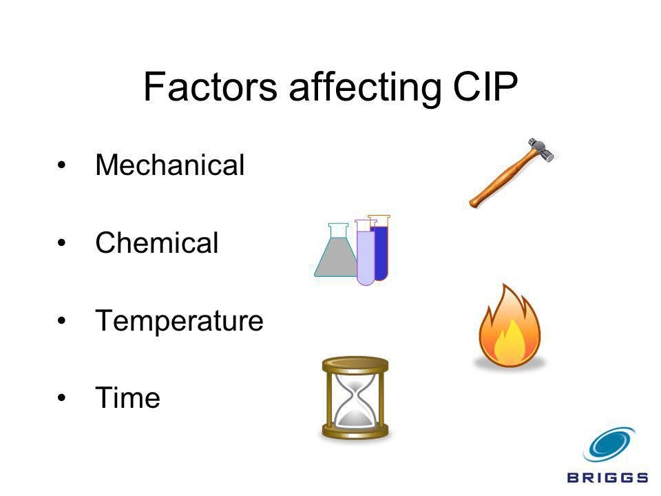 CIP Operation PRE-RINSE - Mechanical Removal of Soil DETERGENT - Cleaning of Remaining Soil - Caustic, Acid or Both FINAL RINSE - Wash Residual Detergent/Soil STERILANT/SANITISER - Cold or Hot