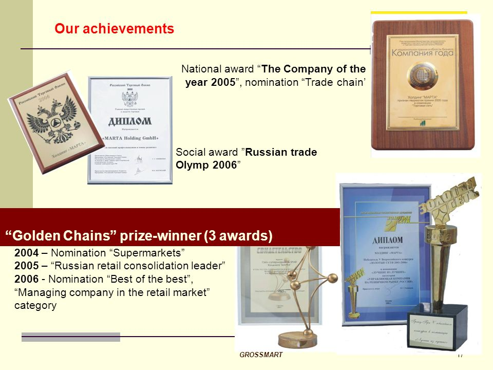 GROSSMART17 Our achievements 2004 – Nomination Supermarkets 2005 – Russian retail consolidation leader 2006 - Nomination Best of the best, Managing company in the retail market category Golden Chains prize-winner (3 awards) National award The Company of the year 2005, nomination Trade chain Social award Russian trade Olymp 2006