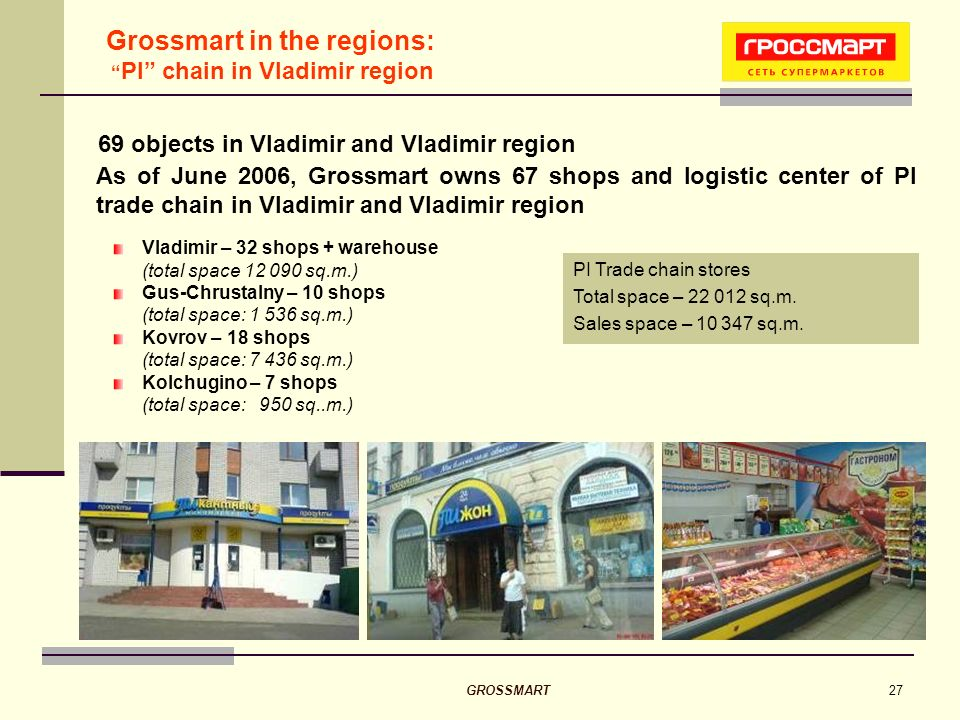 GROSSMART27 69 objects in Vladimir and Vladimir region PI Trade chain stores Total space – 22 012 sq.m.