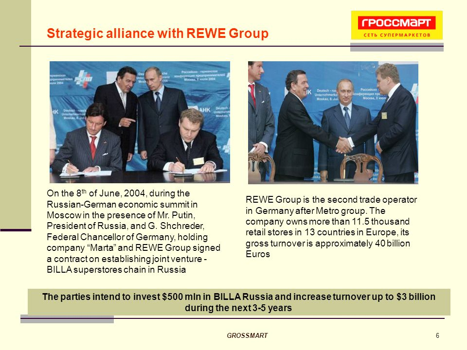 GROSSMART6 The parties intend to invest $500 mln in BILLA Russia and increase turnover up to $3 billion during the next 3-5 years Strategic alliance with REWE Group On the 8 th of June, 2004, during the Russian-German economic summit in Moscow in the presence of Mr.