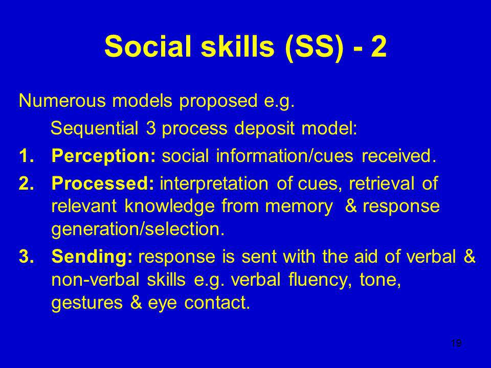 19 Social skills (SS) - 2 Numerous models proposed e.g.