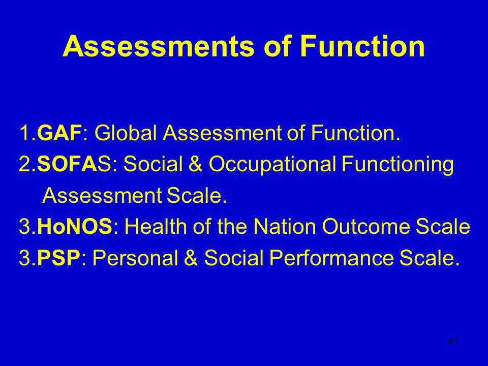 41 Assessments of Function 1.GAF: Global Assessment of Function.