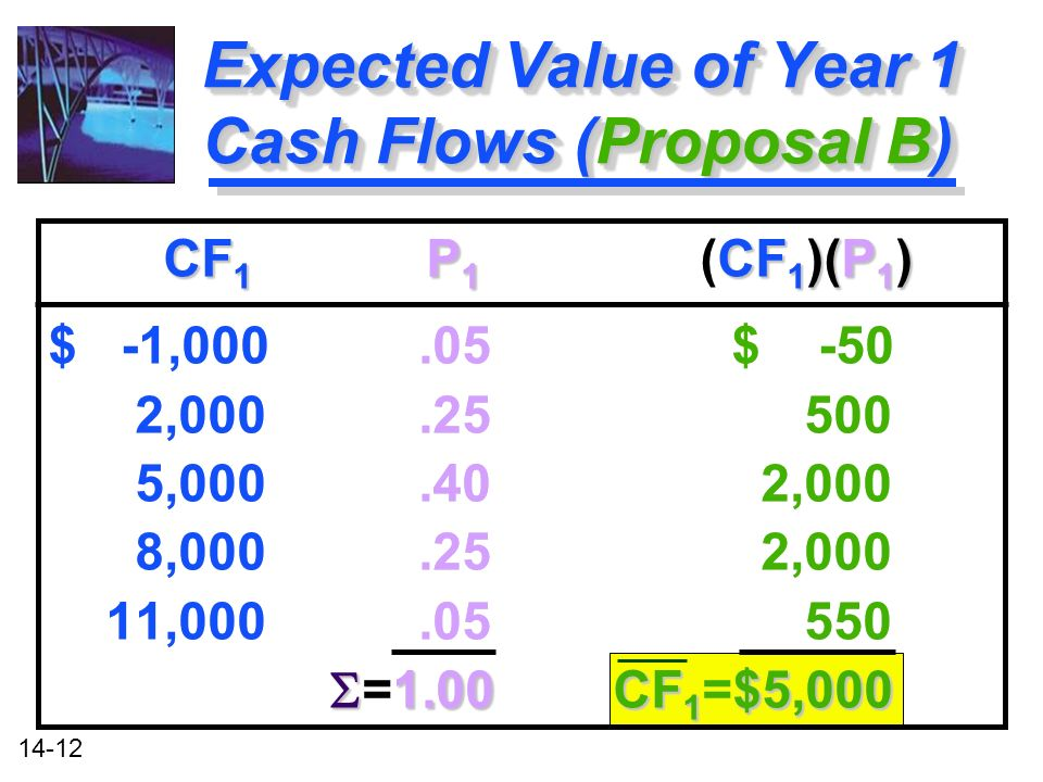14-12 Expected Value of Year 1 Cash Flows (Proposal B) CF 1 P 1 CF 1 )(P 1 ) CF 1 P 1 (CF 1 )(P 1 ) $ -1, $ -50 2, , ,000 8, ,000 11, CF 1 $5,000 =1.00 CF 1 =$5,000 CF 1 P 1 CF 1 )(P 1 ) CF 1 P 1 (CF 1 )(P 1 ) $ -1, $ -50 2, , ,000 8, ,000 11, CF 1 $5,000 =1.00 CF 1 =$5,000
