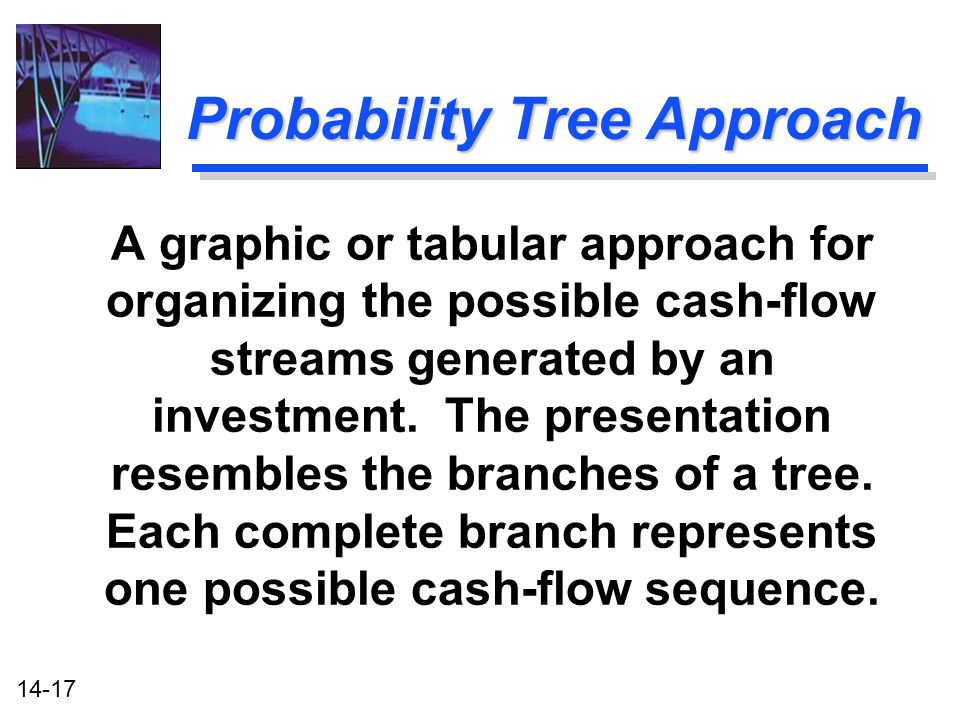 14-17 Probability Tree Approach A graphic or tabular approach for organizing the possible cash-flow streams generated by an investment.
