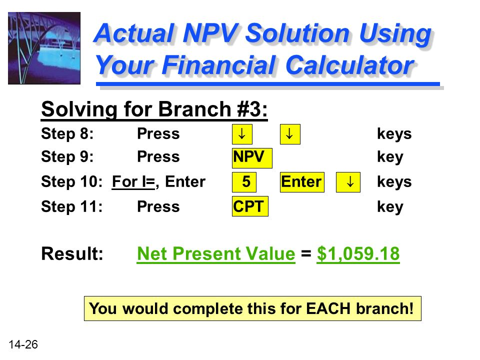 14-26 Actual NPV Solution Using Your Financial Calculator Solving for Branch #3: Step 8: Press keys Step 9: PressNPV key Step 10: For I=, Enter 5Enter keys Step 11: PressCPT key Result:Net Present Value = $1, You would complete this for EACH branch!