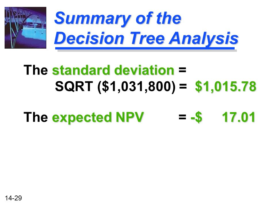 14-29 Summary of the Decision Tree Analysis standard deviation $1, The standard deviation = SQRT ($1,031,800) = $1, expected NPV -$ The expected NPV = -$ 17.01