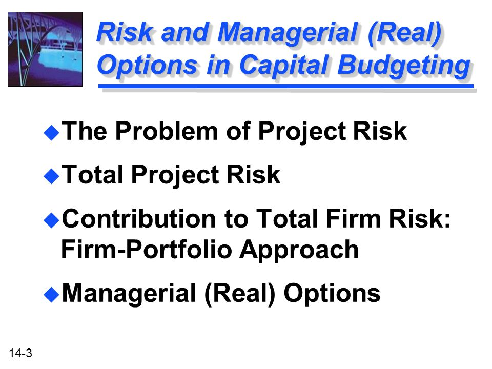 14-3 Risk and Managerial (Real) Options in Capital Budgeting u The Problem of Project Risk u Total Project Risk u Contribution to Total Firm Risk: Firm-Portfolio Approach u Managerial (Real) Options u The Problem of Project Risk u Total Project Risk u Contribution to Total Firm Risk: Firm-Portfolio Approach u Managerial (Real) Options