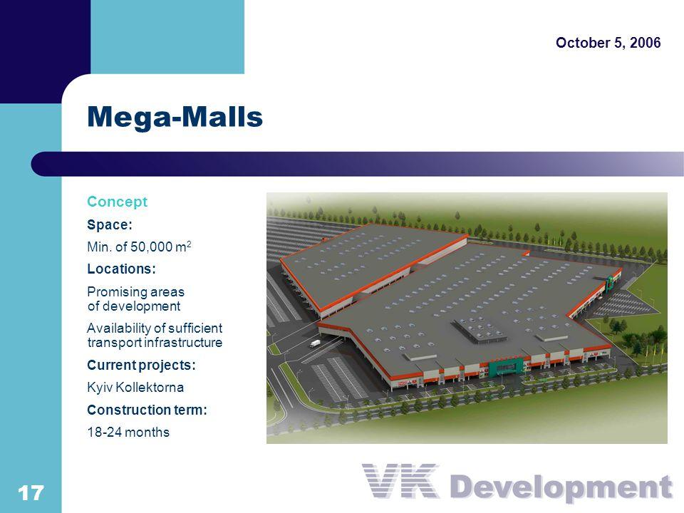 October 5, 2006 1717 Mega-Malls Concept Space: Min.