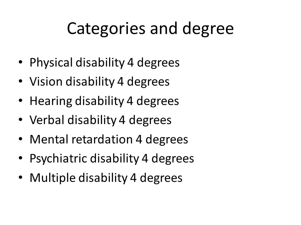 Categories and degree Physical disability 4 degrees Vision disability 4 degrees Hearing disability 4 degrees Verbal disability 4 degrees Mental retard