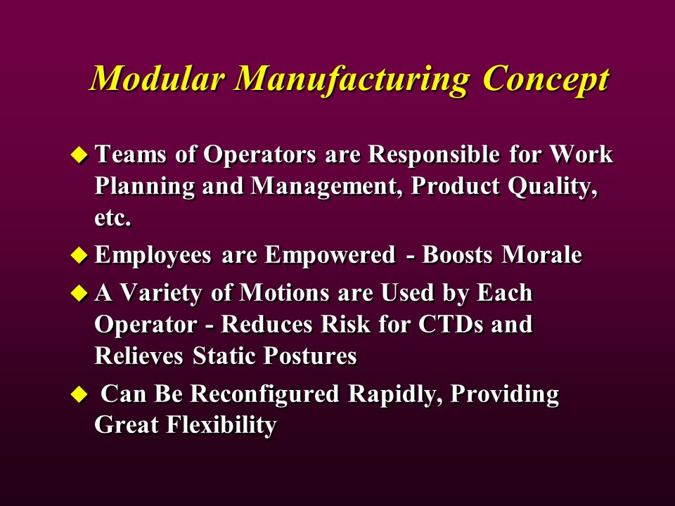 Modular Manufacturing Concept Teams of Operators are Responsible for Work Planning and Management, Product Quality, etc. Employees are Empowered - Boo