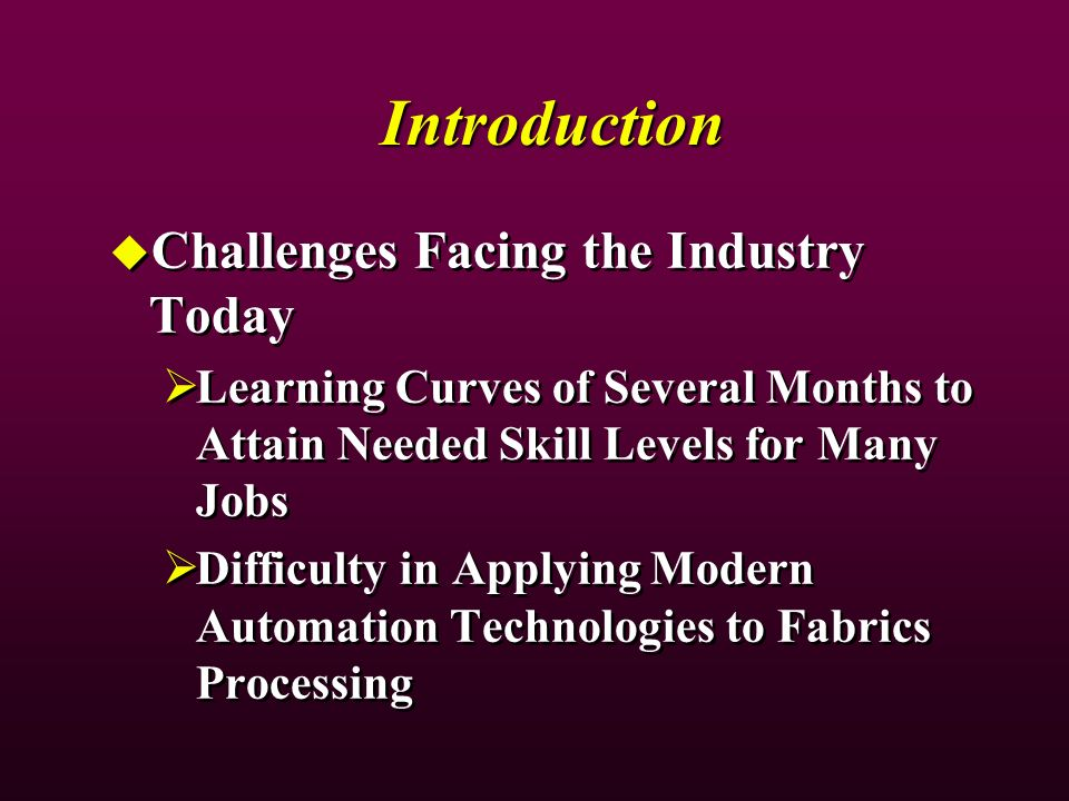 Introduction Challenges Facing the Industry Today Learning Curves of Several Months to Attain Needed Skill Levels for Many Jobs Difficulty in Applying
