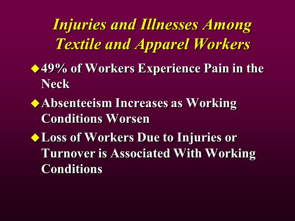 Injuries and Illnesses Among Textile and Apparel Workers 49% of Workers Experience Pain in the Neck Absenteeism Increases as Working Conditions Worsen