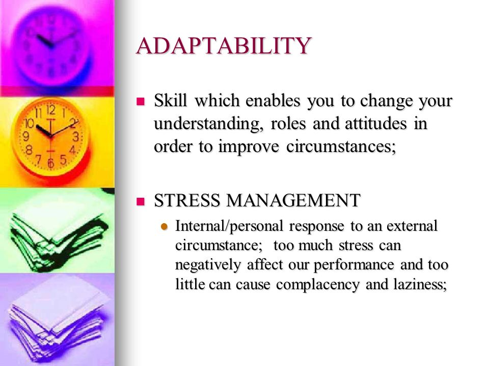 ADAPTABILITY Skill which enables you to change your understanding, roles and attitudes in order to improve circumstances; Skill which enables you to c