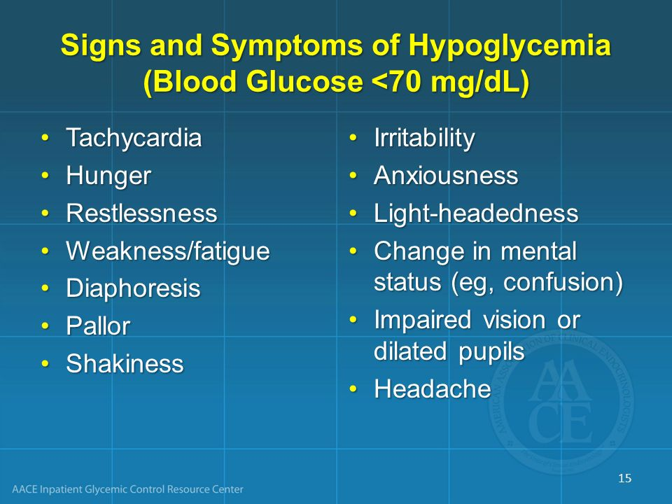 Signs and Symptoms of Hypoglycemia (Blood Glucose <70 mg/dL) TachycardiaTachycardia HungerHunger RestlessnessRestlessness Weakness/fatigueWeakness/fat
