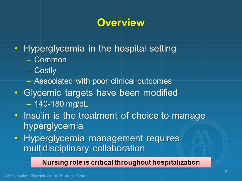 Overview Hyperglycemia in the hospital settingHyperglycemia in the hospital setting –Common –Costly –Associated with poor clinical outcomes Glycemic t