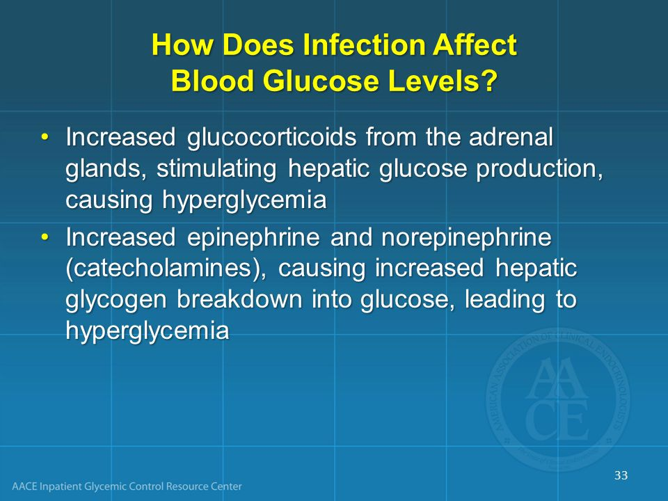 How Does Infection Affect Blood Glucose Levels? Increased glucocorticoids from the adrenal glands, stimulating hepatic glucose production, causing hyp