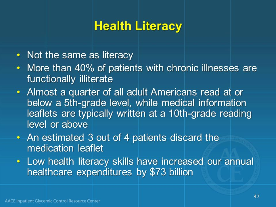 Health Literacy Not the same as literacyNot the same as literacy More than 40% of patients with chronic illnesses are functionally illiterateMore than