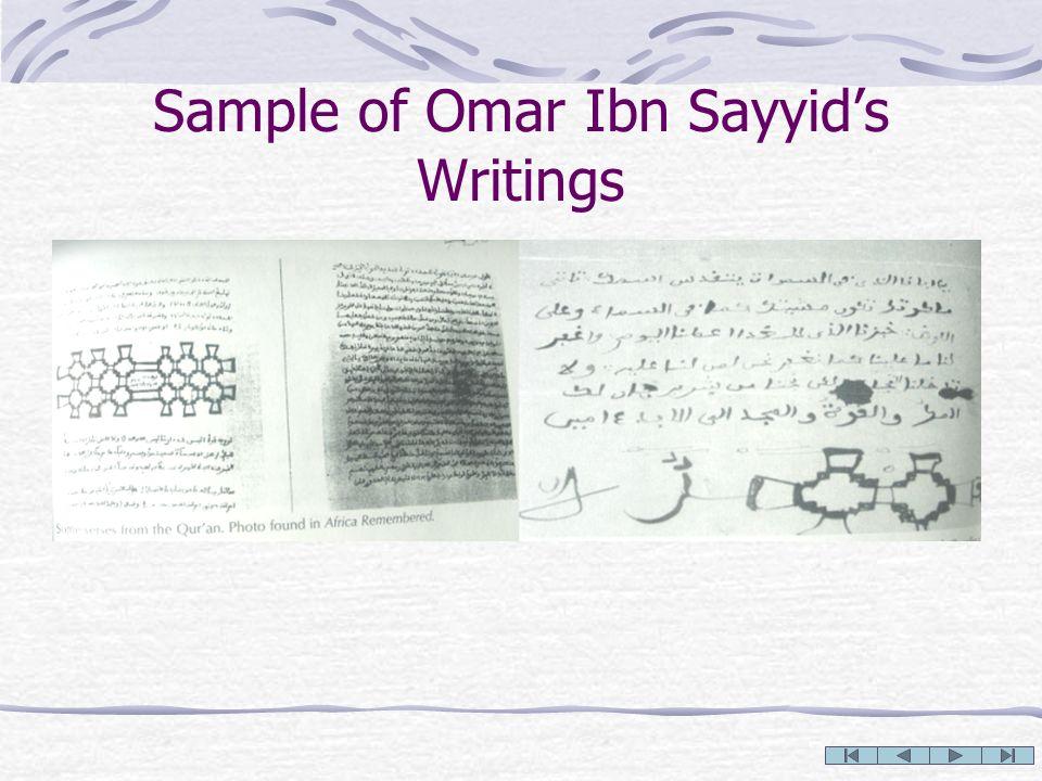 Sample of Omar Ibn Sayyids Writings
