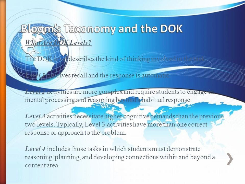 What Are DOK Levels.The DOK level describes the kind of thinking involved in the task.