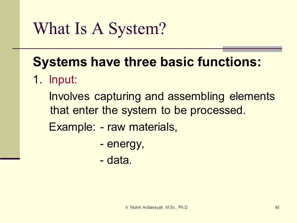 Ir. Muhril Ardiansyah, M.Sc., Ph.D.40 What Is A System? Systems have three basic functions: 1. Input: Involves capturing and assembling elements that