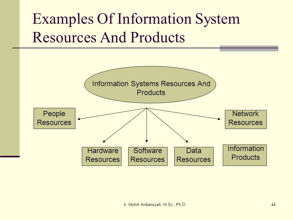 Ir. Muhril Ardiansyah, M.Sc., Ph.D.44 Examples Of Information System Resources And Products Information Systems Resources And Products People Resource