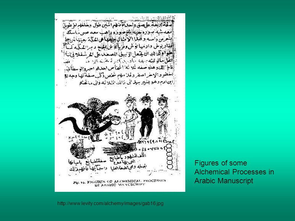 Figures of some Alchemical Processes in Arabic Manuscript http://www.levity.com/alchemy/images/gab16.jpg