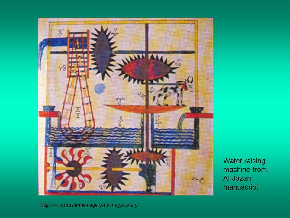 Water raising machine from Al-Jazari manuscript http://www.muslimheritage.com/ImageLibrary/