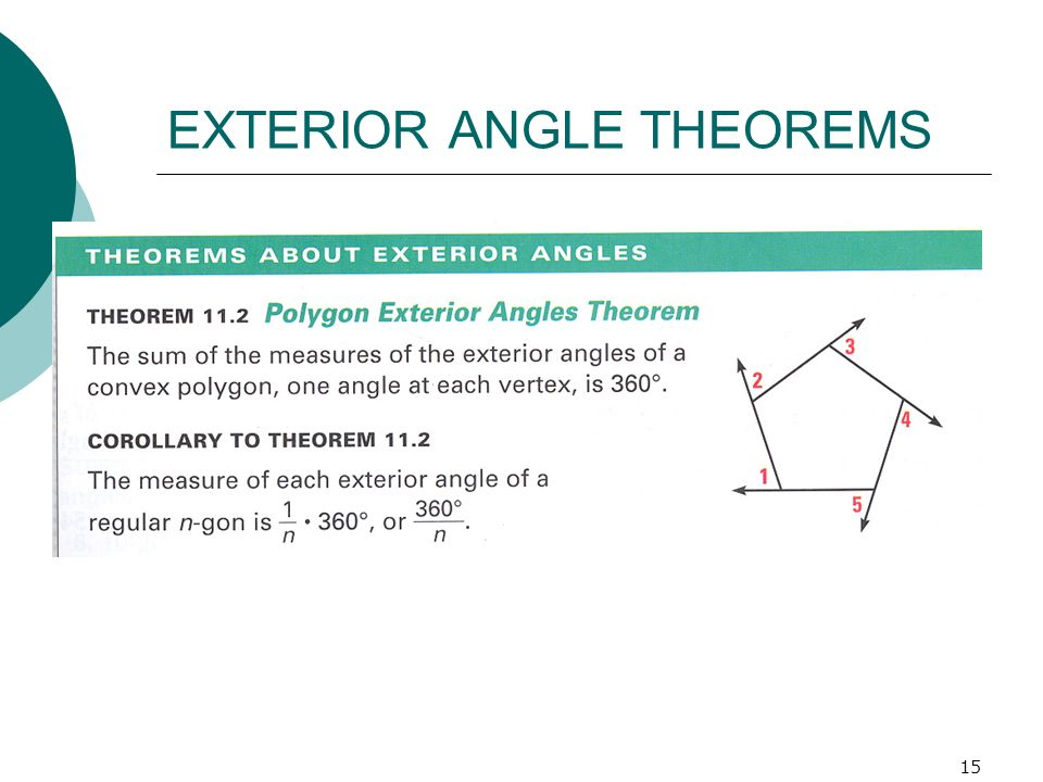 15 EXTERIOR ANGLE THEOREMS