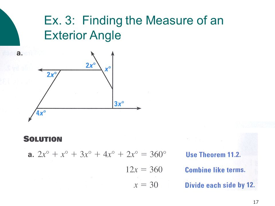 17 Ex. 3: Finding the Measure of an Exterior Angle