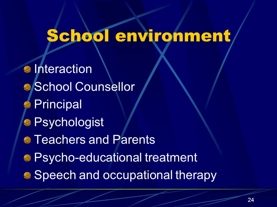 24 School environment Interaction School Counsellor Principal Psychologist Teachers and Parents Psycho-educational treatment Speech and occupational t