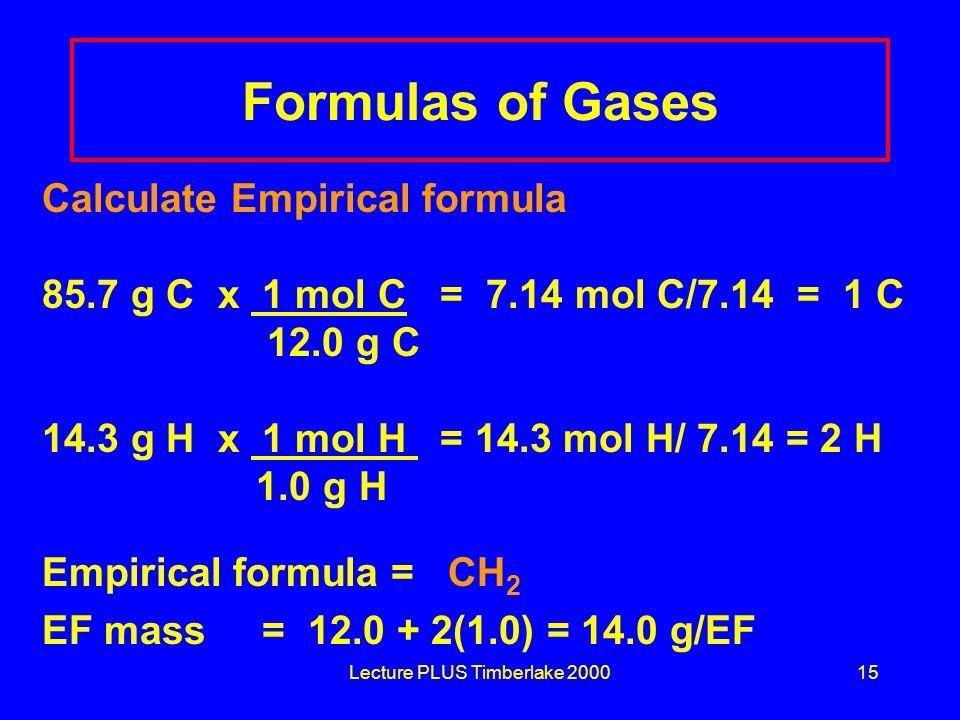 Lecture PLUS Timberlake 200015 Formulas of Gases Calculate Empirical formula 85.7 g C x 1 mol C = 7.14 mol C/7.14 = 1 C 12.0 g C 14.3 g H x 1 mol H =