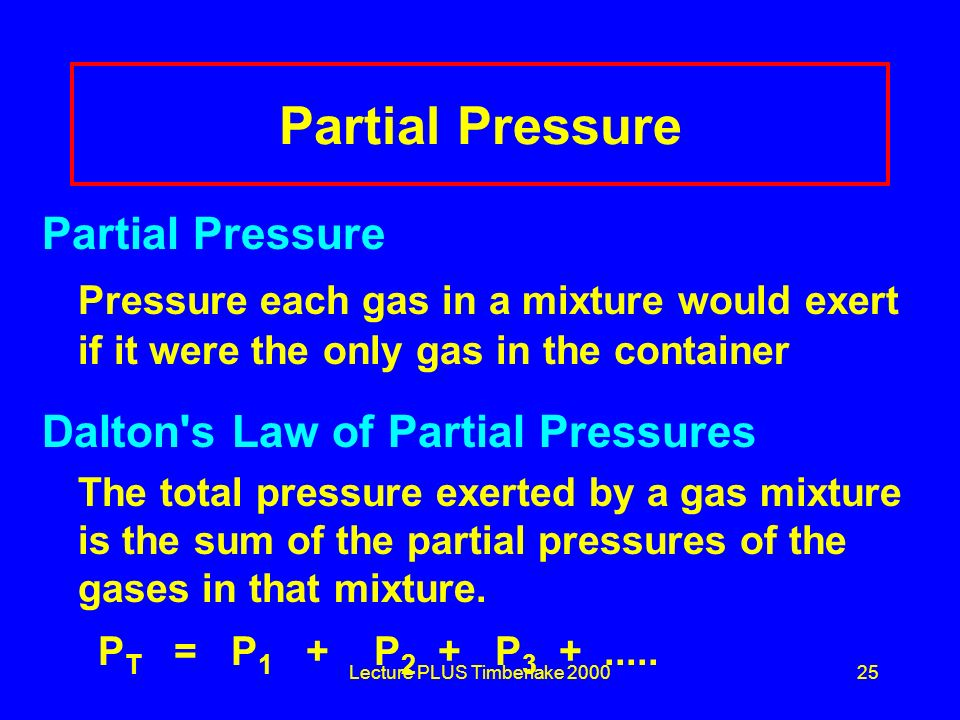 Lecture PLUS Timberlake 200025 Partial Pressure Pressure each gas in a mixture would exert if it were the only gas in the container Dalton's Law of Pa