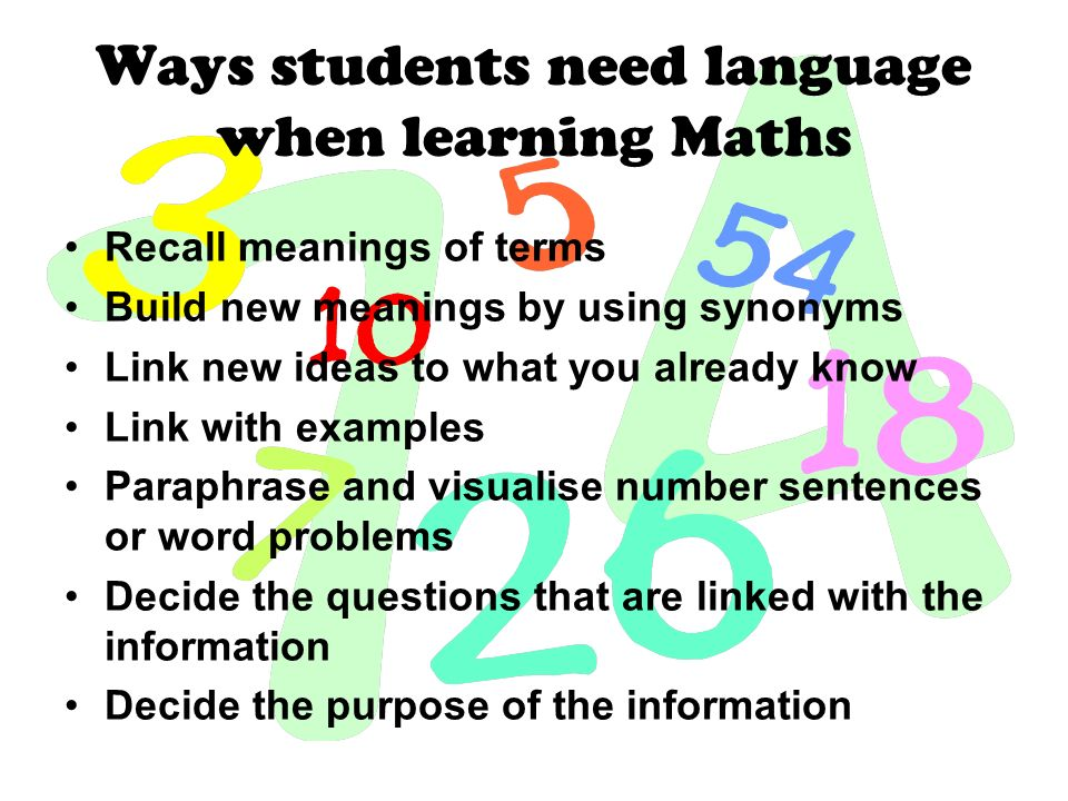 Ways students need language when learning Maths Recall meanings of terms Build new meanings by using synonyms Link new ideas to what you already know