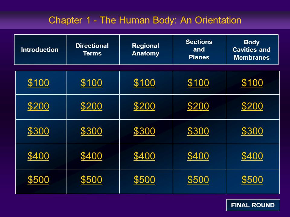 Introduction: $100 Question The study of the function of the human body is termed: a.