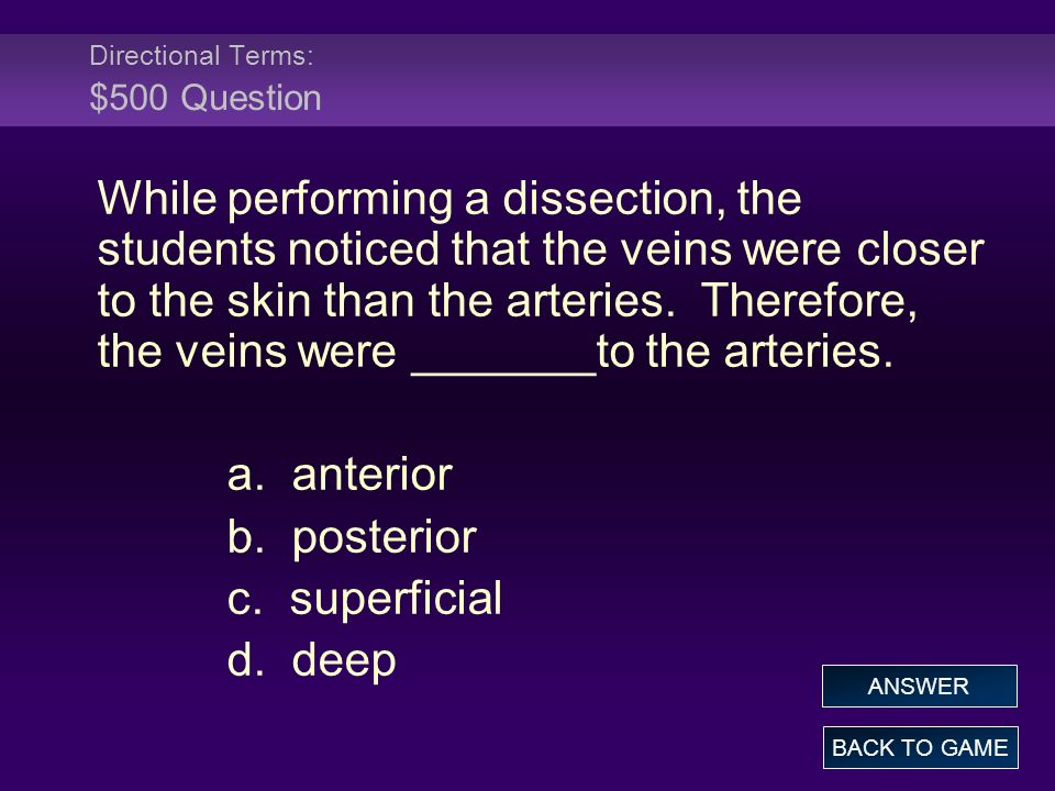 Directional Terms: $500 Question While performing a dissection, the students noticed that the veins were closer to the skin than the arteries. Therefo