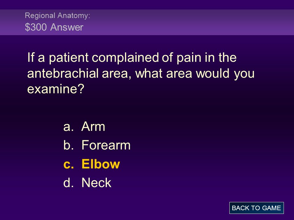 Regional Anatomy: $300 Answer If a patient complained of pain in the antebrachial area, what area would you examine? a. Arm b. Forearm c. Elbow d. Nec