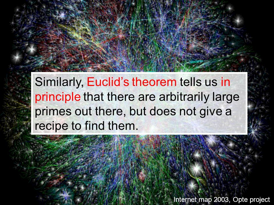 Similarly, Euclids theorem tells us in principle that there are arbitrarily large primes out there, but does not give a recipe to find them. Internet