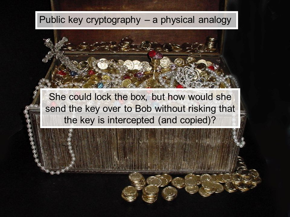 Public key cryptography – a physical analogy She could lock the box, but how would she send the key over to Bob without risking that the key is interc